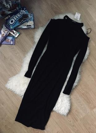Платье длинна миди до колен чёрное