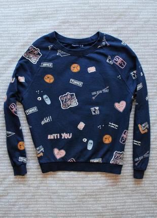 Свитшот свитер bershka с принтом надписями купить цена