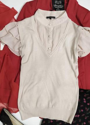 ❤️нежная блузочка с имитацией вязаной жилеточки