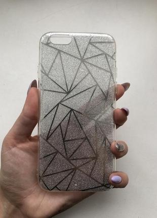 Чехол на айфон iphone 6 6s серебристый серебро силиконовый