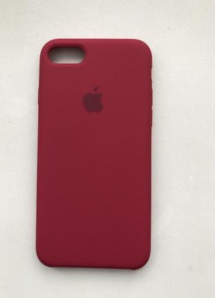 Чехол на айфон silicon case iphone логотип apple 7 8 силиконовый вишневый красный