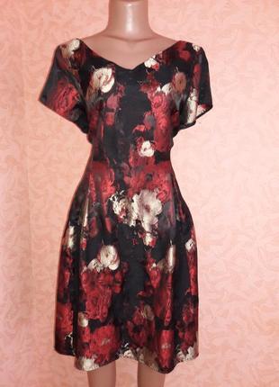Красивое коктелйьное платье из жаккардовой ткани