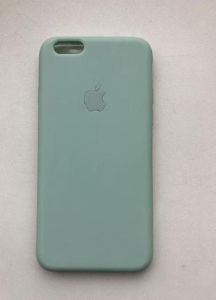 Чехол на айфон iphone логотип apple silicon case 6 6s зеленый бирюзовый силиконовый