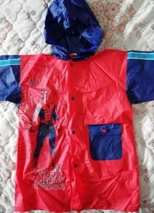 Куртка плащ дождевик с капюшоном спайдермен на 4-6лет 104-116см