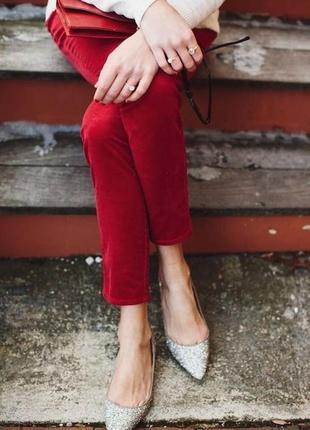 Бархатные брюки slim fit gerry webber укороченные длина 7/8