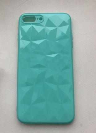 Чехол на айфон iphone 7+ 8+ 7 plus 8 plus силиконовый голубой бирюзовый