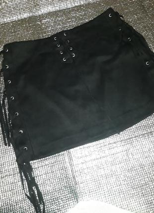 Zara замшевая юбочка со шнуровкой