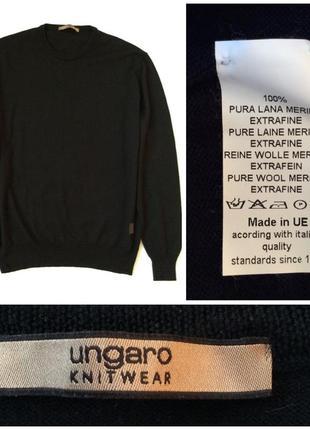 Ungaro knitwear великолепный строгий джемпер из мериносовой шерсти