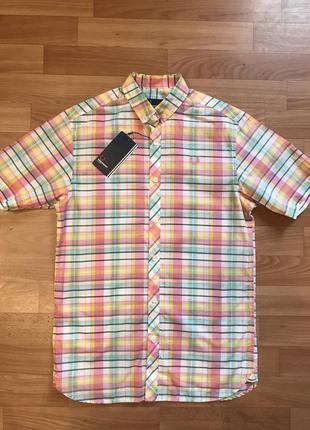 Яркая брэндовая рубашка fred perry,размер хs