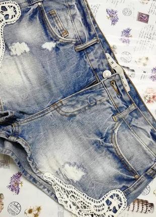 Шорти джинсові з кружевом