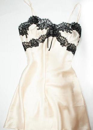 Шелковая ночнушка, рубашка кружевная жемчужная размер 40, 42, 44
