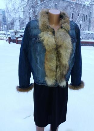 Женская модная,стильная джинсовая куртка с натуральным мехом лисы