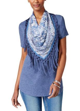 Комплект : футболка +съемный шелковый платок в принт с бахромой pl на 48-50 рр
