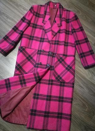 Шикарное шерстяное двубортное пальто с накладными карманами l-xl