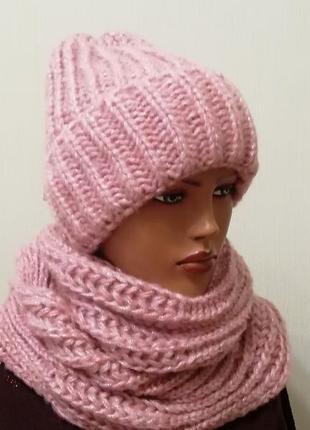 Хит 2019! стильный комплект крупной вязки шапка с широким отворотом и снуд пудра2