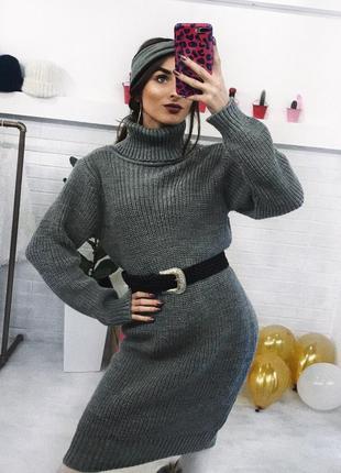 Теплый свитер-платья вязаное платья миди туника купить украина xs s m l