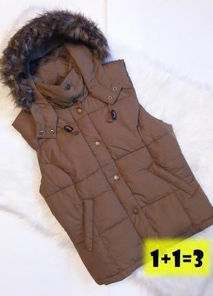 H&m стильная дутая жилетка м-l 48-50рр теплая коричневая безрукавка куртка капюшон тренд