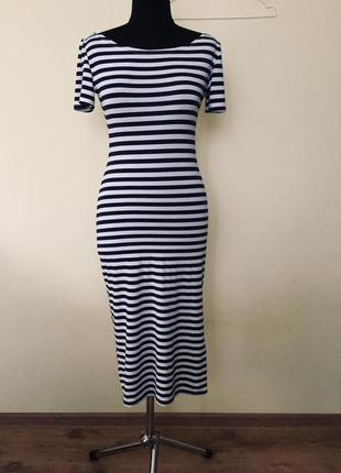 Платье длинное в темно-синюю полоску