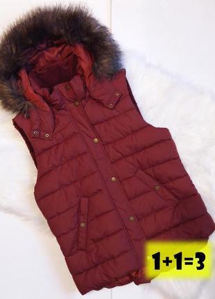 H&м стильная теплая жилетка l 50рр дутая бордовая безрукавка куртка капюшон тренд мех