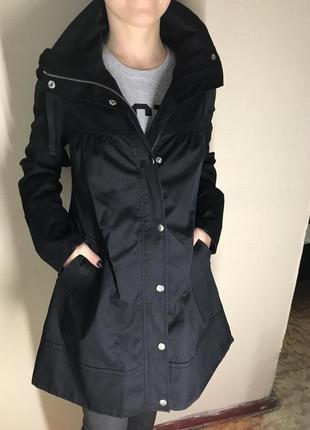 Пальто женское плащ черный разлетайка h&m /на молнии трапеция прямое высокий воротник