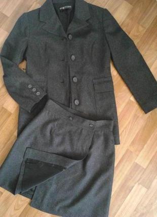 Роскошный костюм,пиджак/юбка,шерсть,серый,дорогой бренд misscoccapani