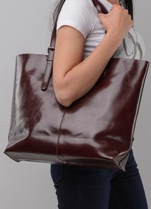 644e895b1400 Темно-коричневая стильная кожаная женская большая сумка шоппер тоут ручная  работа1 ...