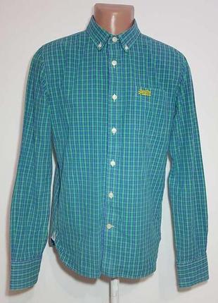 Рубашка superdry, 100% хлопок, l, как новая!