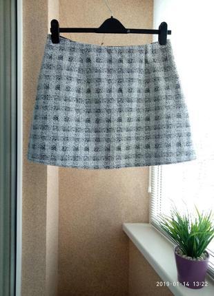Красивая трикотажная юбка мини трапецией