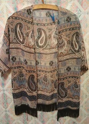 Кардиган , пляжная накидка , накидка с с бахромой , кимоно 12-13 лет