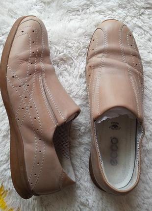 Кожаные туфли мокасины ecco 37р. (24.8 см.)