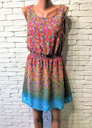 Шифоновое платье с цветочным принтом - градиентом