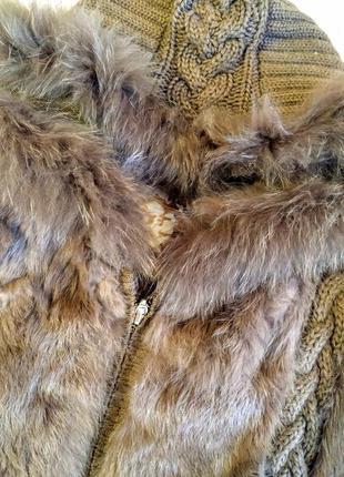 Меховая жилетка кролик натуральная вязаная теплая