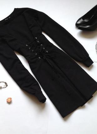 Теплое платье со шнуровкой bershka