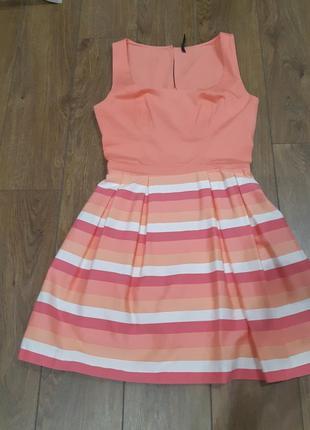 Очень красивое пышное платье naf naf в полоску на миниатюрную невысокую девушку