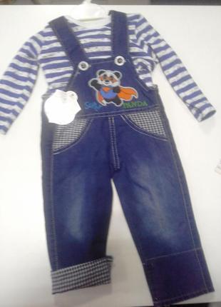 Комбенизон джинсовый + кофточка для мальчика на 2 года.