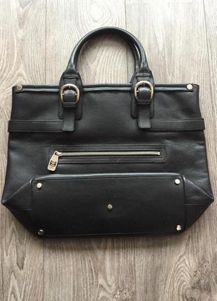 Чёрная кожаная деловая сумка, портфель, шоппер, а4, натуральная кожа, neri karra