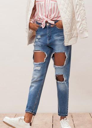 Рваные джинсы stradivarius mom jeans, высокая посадка