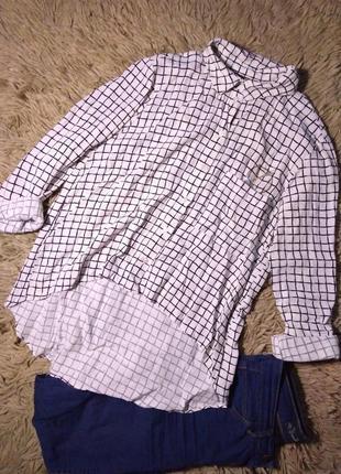 Ассиметричная рубашка в клеточку