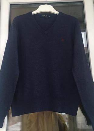Ralph lauren оригинал синий свитер из натуральной шерсти с-м