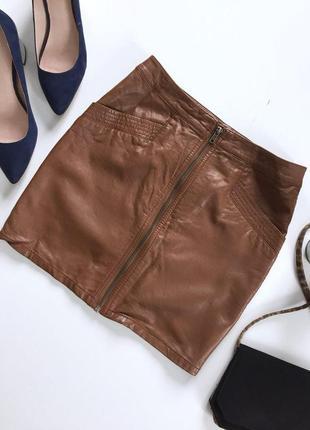 Стильная юбка под кожу на молнии с кармашками от h&m