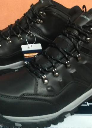Skechers оригинал новые трекинговые ботинки черные кожа 48-49
