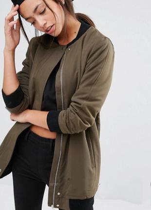 Удлиненная куртка-бомбер new look оливкового цвета