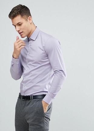 Сиреневая зауженная рубашка calvin klein размер l