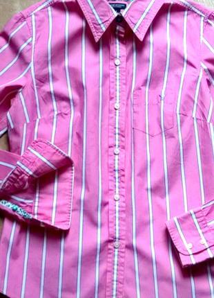Стильна сорочка рубашка женская розовая рубашка в полоску anerican eagle