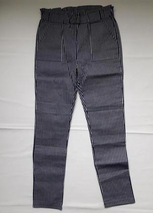 Крутые трендовые стрейчевые брюки принт полоски высокая посадка yours