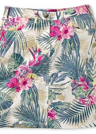 Хлопковая юбка с восхитительным тропическим принтом от tchibo, германия - р. 42-44 укр.
