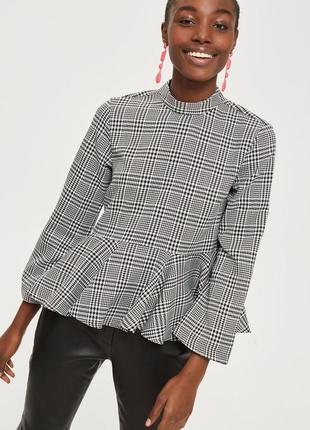 🌿 трендовая блузка с баской в клетку от topshop