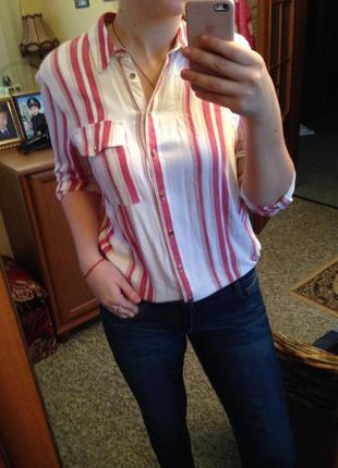 Рубашка в красную полоску полосатая  river islamd
