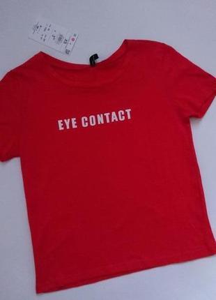 Sinsay новая модная футболка красная с надписью xs 34 6 42 s 36 8 44
