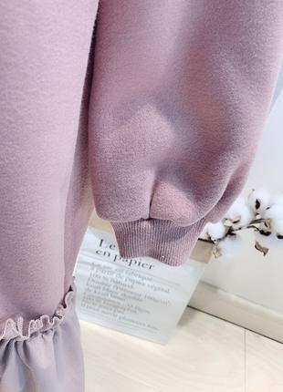 Новое детское лавандовое платье-пайта с капюшоном5 фото